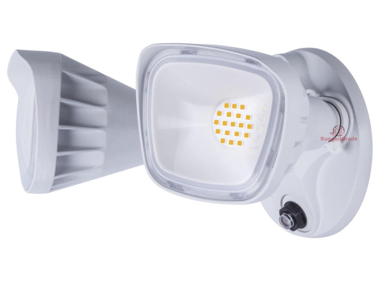 20 Watt Adjustable Led Flood Light White 1 750 Lumen Dusk To Dawn Photocell Sensor 5000k Square Heads