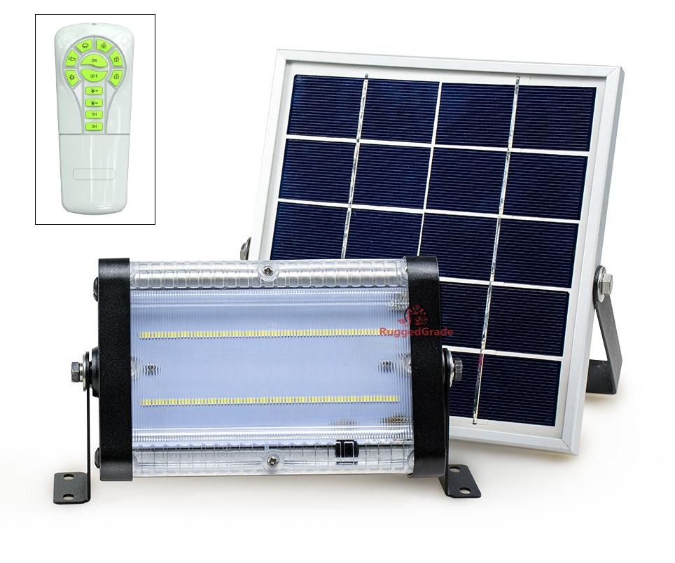 2000 Lumen - Carina Series 20 watt solar flood light - Commercial Grade  Solar LED Floodlight - Non-Motion - With Remote