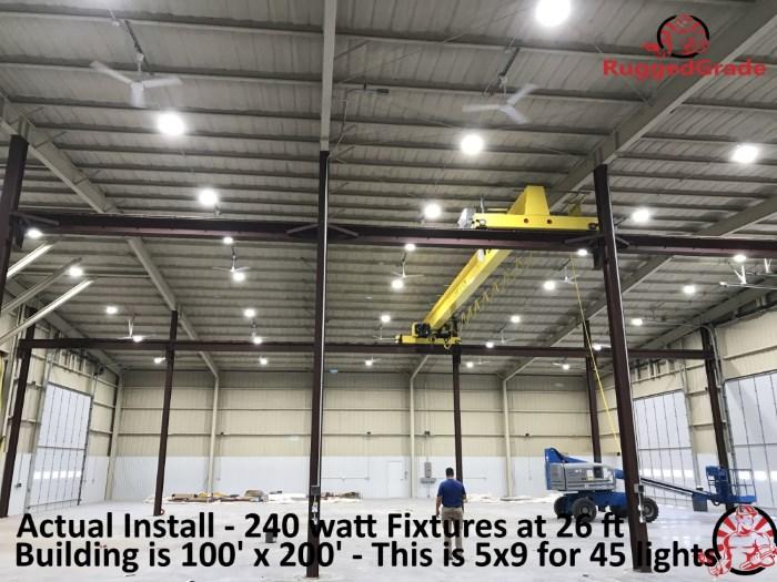 240 watt LED high bay lights installed