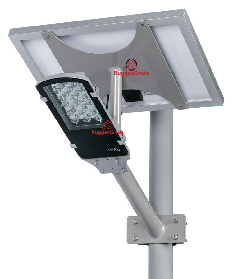 24 watt led solar street light over 2 400 lumen two piece for Lampara solar led