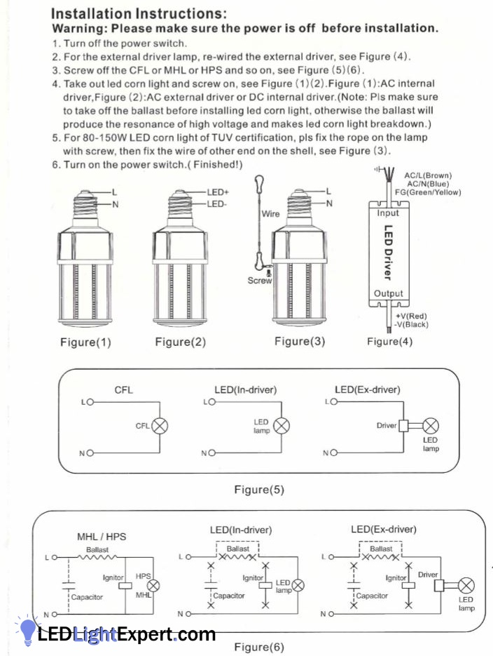 mercury vapor ballast wiring diagram corn light wiring instructions with ballast bypass diagrams  corn light wiring instructions with