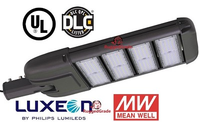 28,000 Lumen LED Street Light - Uses only 240 Watts - 5000K Color - With Photocell Optional - High Efficiency LED Outdoor Street Light. Versatile light can be Parking Lot Light or LED Area Light